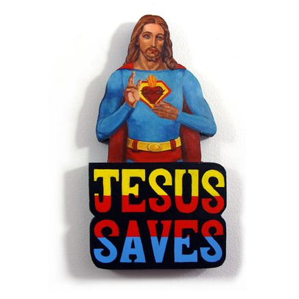 Peter Adamyan Original Art - Jesus Saved Me From Lex Luthor - Original Painting