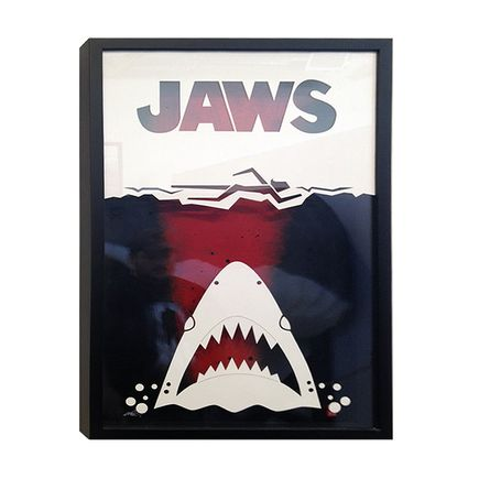 Remo Camerota Original Art - Jaws - White on Black