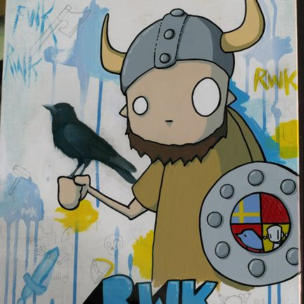 ChrisRWK + H.veng.smith Original Art - Robots Will Kill - Original Painting