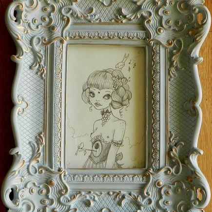 Rudy Fig Original Art - If You Wait In A Garden - Original Sketch