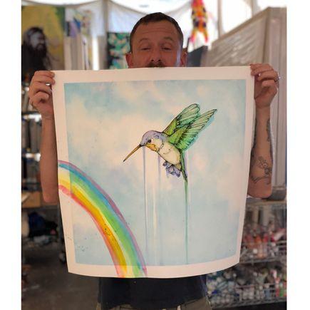 Sage Vaughn x Jude Angelini Art Print - Hummingbird - Hand-Embellished Edition