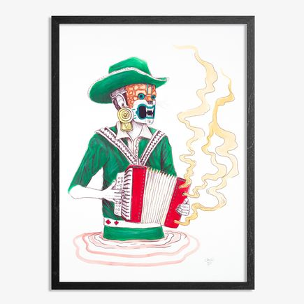 Saner Hand-painted Multiple - El Norteno Playing The Accordion - Mask Edition 01