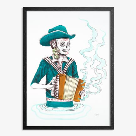 Saner Hand-painted Multiple - El Norteno Playing The Accordion - Mask Edition 02