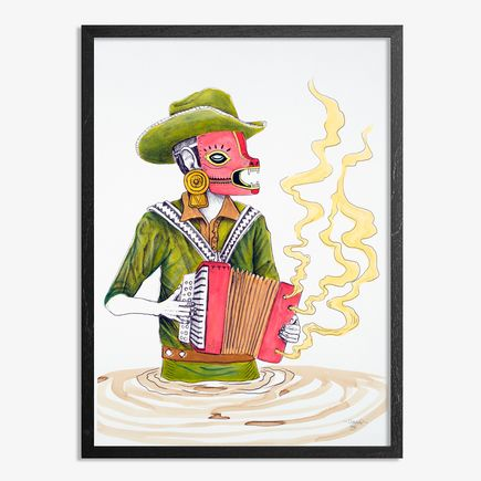 Saner Hand-painted Multiple - El Norteno Playing The Accordion - Mask Edition 05