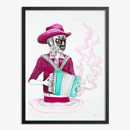 Saner Hand-painted Multiple - El Norteno Playing The Accordion - Mask Edition 06