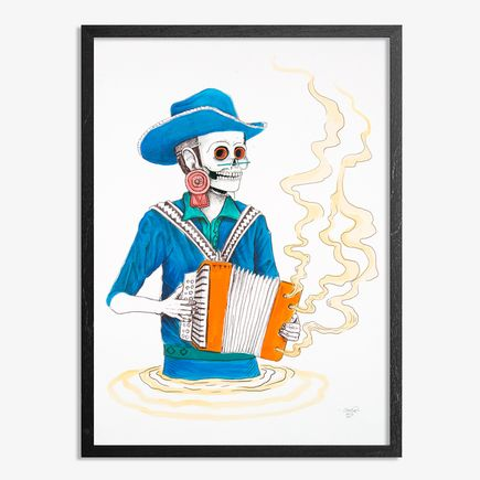 Saner Hand-painted Multiple - El Norteno Playing The Accordion - Mask Edition 03