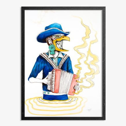 Saner Hand-painted Multiple - El Norteno Playing The Accordion - Mask Edition 07