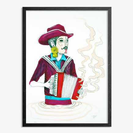 Saner Hand-painted Multiple - El Norteno Playing The Accordion - Mask Edition 09