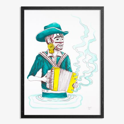 Saner Hand-painted Multiple - El Norteno Playing The Accordion - Mask Edition 10