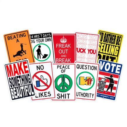 Denial Art Print - Public Warnings - Complete Set - 10 Custom Street Signs