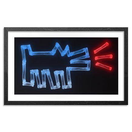 SHOK-1 Art Print - Dog With Bones (Neon Blues Red)