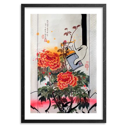 Slick X Linda Chang Wyrgatsch Art - Hand-Embellished Edition - 3 Peonies & A Can