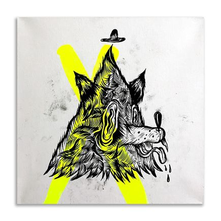 Spencer Keeton Cunningham Original Art - Teepee Wolf