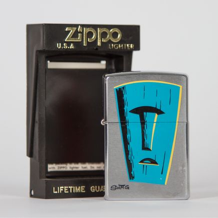 Zippo Art - Shag - Blue Tiki Mask Lighter